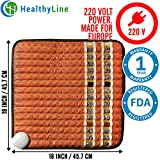 HealthyLine Infrared Heating Pad (Soft & Small) 18″ x 18″ (European 220v) for Pain Relief, Sore Muscles, Arthritis and Injury Recovery Natural Amethyst, Jade, Obsidian & Tourmaline Ceramic  US FDA