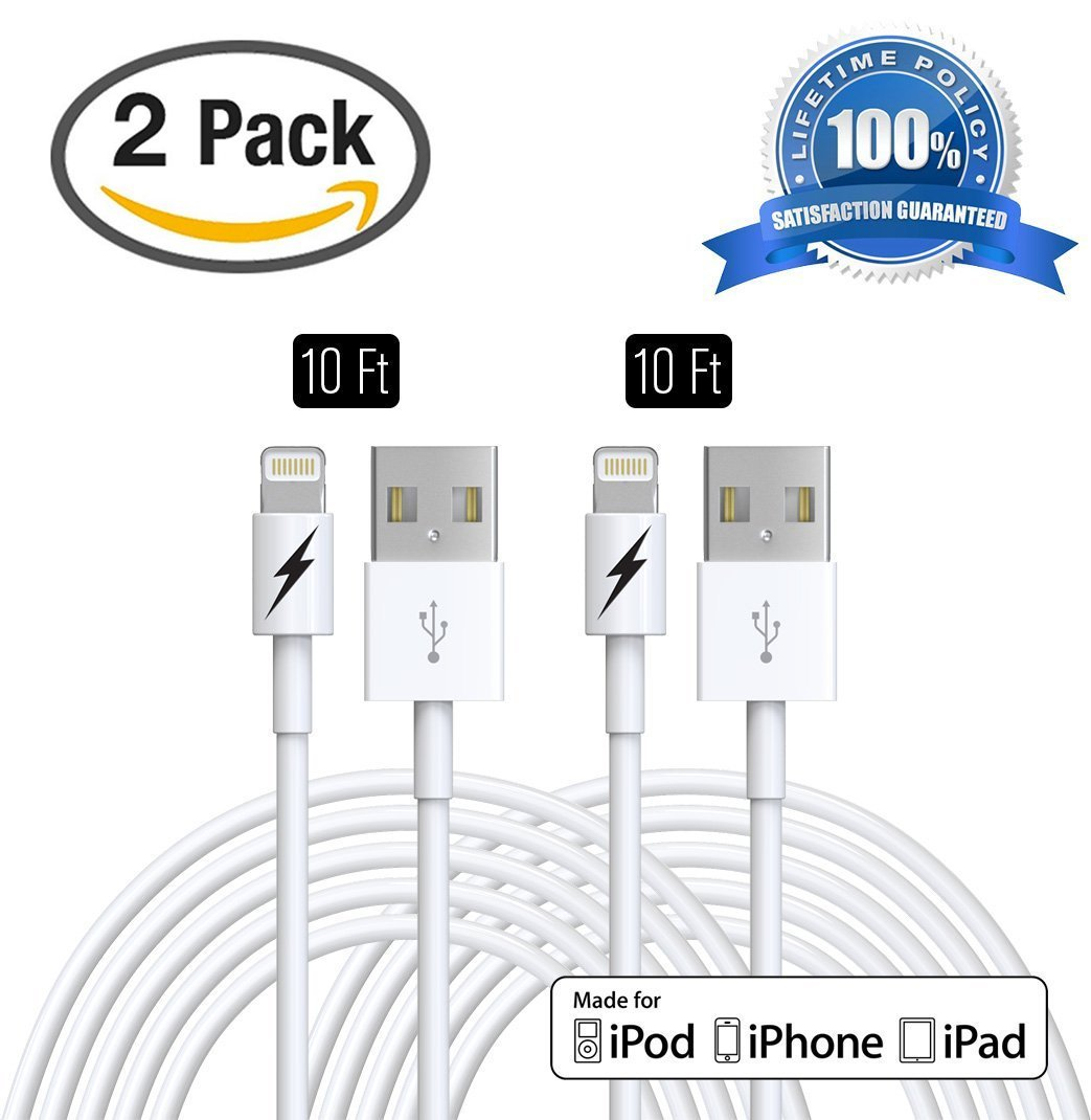 (2 PACK) 10 FT iPhone 6 & 7 Charger Cable - Certified Lightning to USB Charging Cord Connector - Durable & Fast - Zeus Guarantee