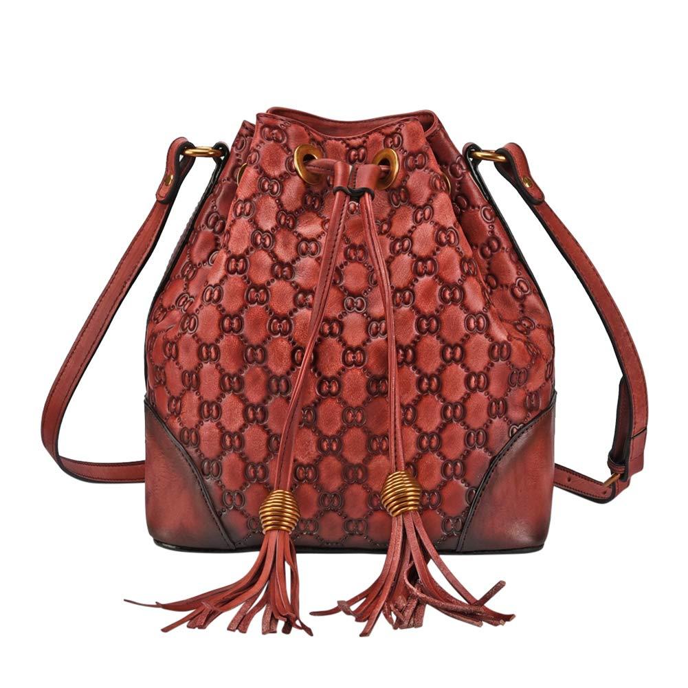 VOOO4CC Women Drawstring Shoulder Bag Leather Retro Tassel Crossbody Satchel Bag (Red)
