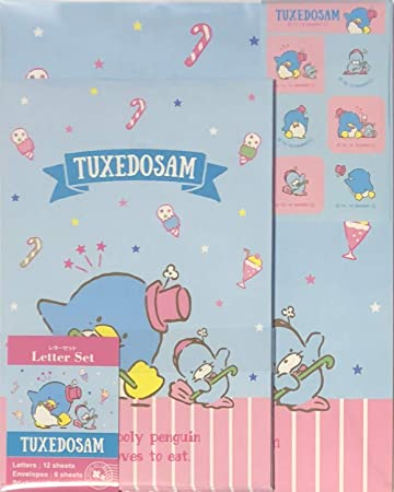 Amazon.com: Sanrio Tuxedosam - Set de 12 cartas de papel ...