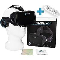 VR-PRIMUS® VA4, Casque VR avec écouteurs et Google Cardboard Apps. Compatible avec iPhone X XS et Smartphones Android à 6.2″ p.ex Samsung, Huawei, LG, Sony, Xiaomi  + Télécommande pour Android