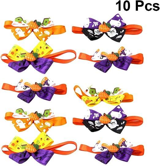 POPETPOP 10pcs / Pack Perro Bowtie Halloween Set-Cat Pajarita Collar para Vacaciones Halloween Festival Perro ...