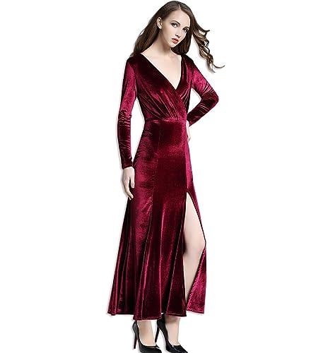 KAXIDY Vestito Lungo Vestiti Vellutato Donna Abiti Eleganti Vestiti da Sera