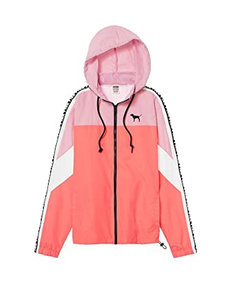 8734ee5b59 Image Unavailable. Image not available for. Color  Victoria s secret Pink  Anorak Windbreaker Full Zip Jacket Neon Coral XSmall Small NWT