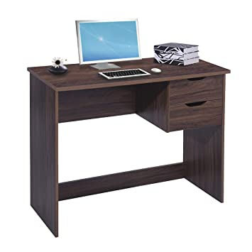 Incredible Brown Computer Desk Writing Study Table With 2 Side Drawers Classic Home Office Laptop Desk Brown Wood Notebook Table 35 4X17 7X29 1 Inches Home Interior And Landscaping Transignezvosmurscom