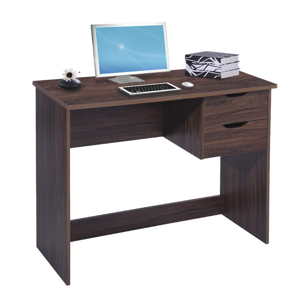 Brown Computer Desk Writing Study Table with 2 Side Drawers Classic Home Office Laptop Desk Brown Wood Notebook Table (35.4x17.7x29.1 Inches)