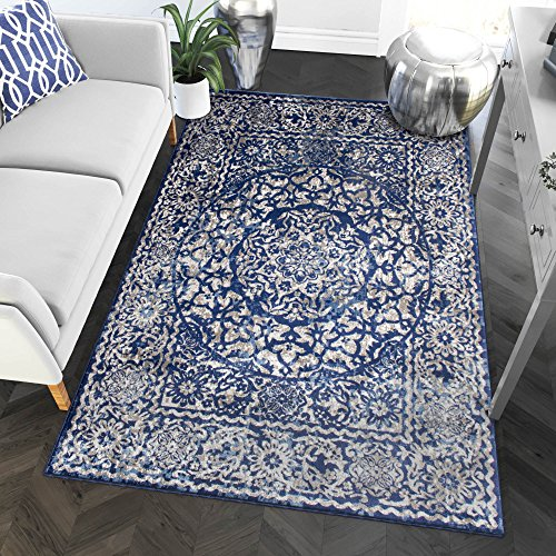 Transitonal Blue Vintage Distressed Border Rugs 5x7 Living Room Trendy Carpet, 5-Feet 3-Inch by 7-Feet 3-Inch ()