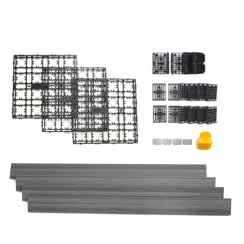NewTechWood DAF-4-GY 4.32-Square Feet Deck-A-Floor Modular Composite Flooring System Kit, Gray
