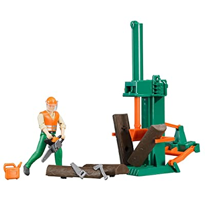 Bruder 62650 Bworld Log Splitting Forestry Logging Set with Man, Chainsaws, Accessories: Toys & Games