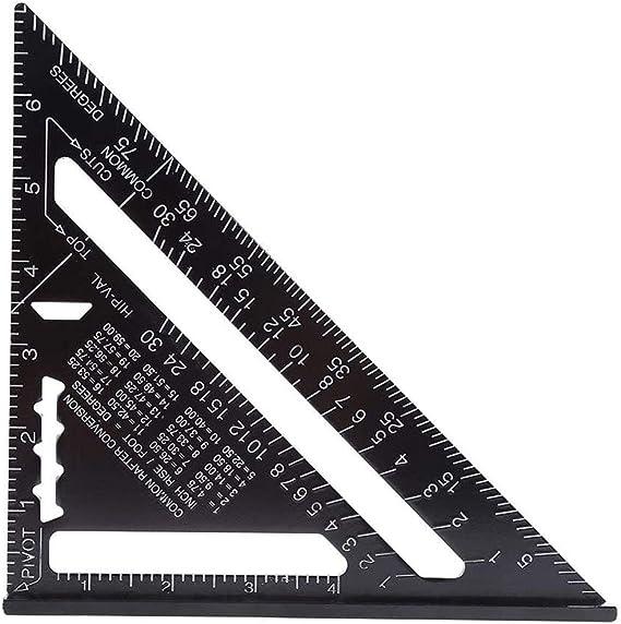 Regla Triangular Alta Precisi/ón Aleaci/ón Aluminio Negro Para Herramienta Regla Medici/ón 7 pulgadas Regla triangular Regla Triangular Cuadrada 90 Grados 45 Grados Regla Cuadrada M/étrica