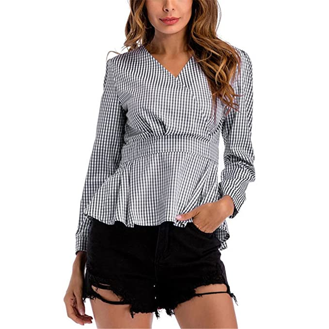 Blusa a Cuadros con Cuello en V Informal Blusas a Cuadros y Blusas para Mujeres de