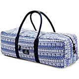 """FODOKO Yoga Mat Bag Carrier for Women 26″L X 8.5""""D Patterned Canvas with Pocket and Zipper (small Elephant-Blue)"""