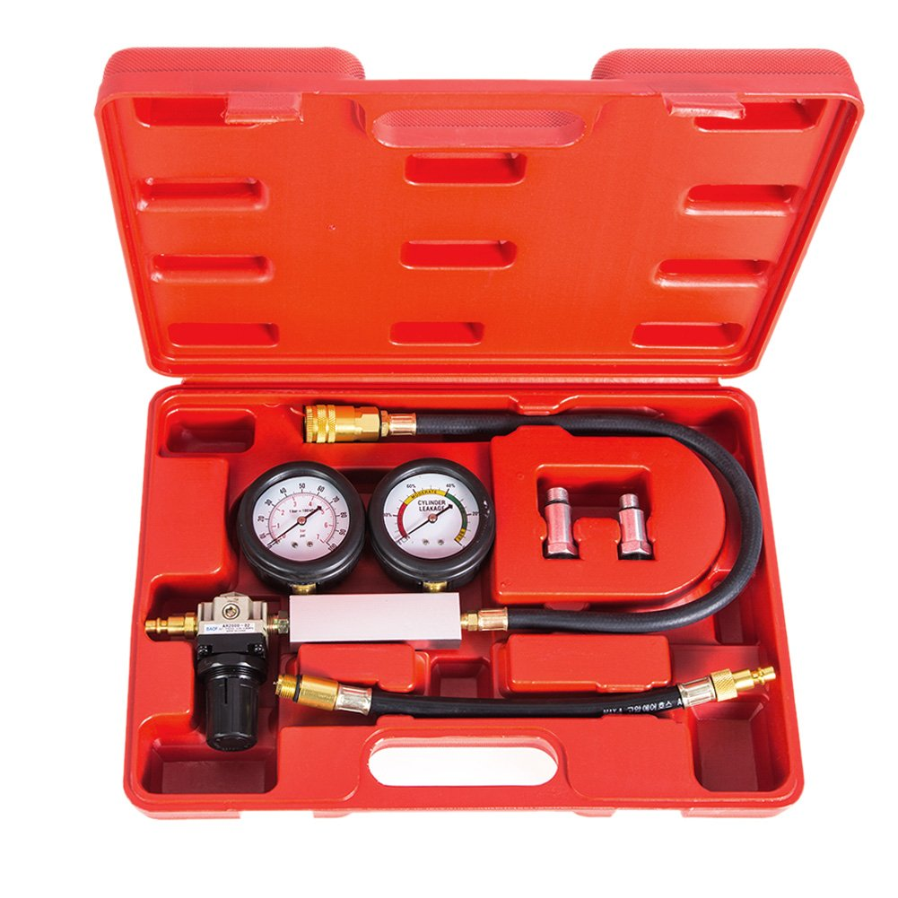 Awakingdemi Compression Test Kit,Cylinder Leakage Leakdown Leak Detector Engine Compression Tester Gauges