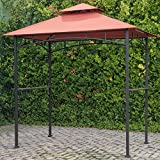 Outdoor Freestanding Grill Canopy Gazebo with Double Roof Shelter and Two Handy Shelves Made with Polyester Fabric and Metal in Terra Cotta 8.2′ H x 8′ W x 5′ D