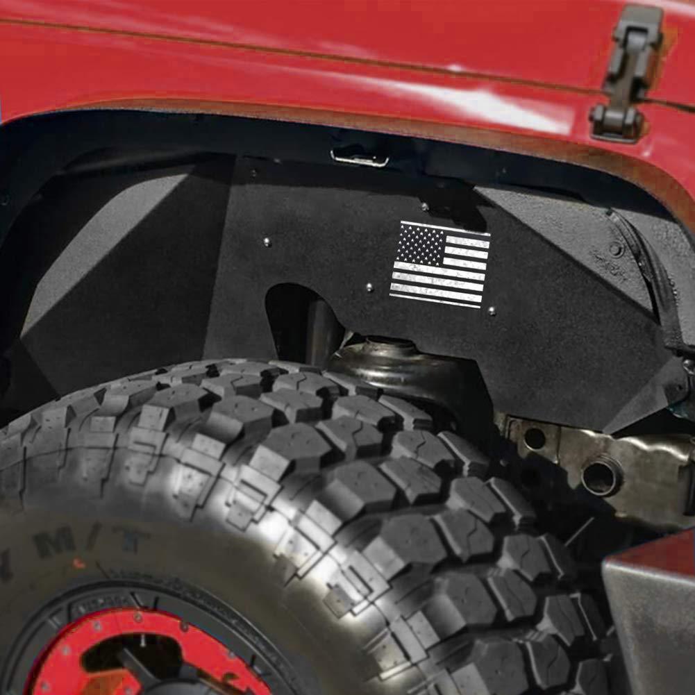 Bentolin Jeep Wrangler Front Inner Fender Liners for 2007-2018 Jeep Wrangler JK 4WD US Flag Logo Aluminum Lightweight Design Black
