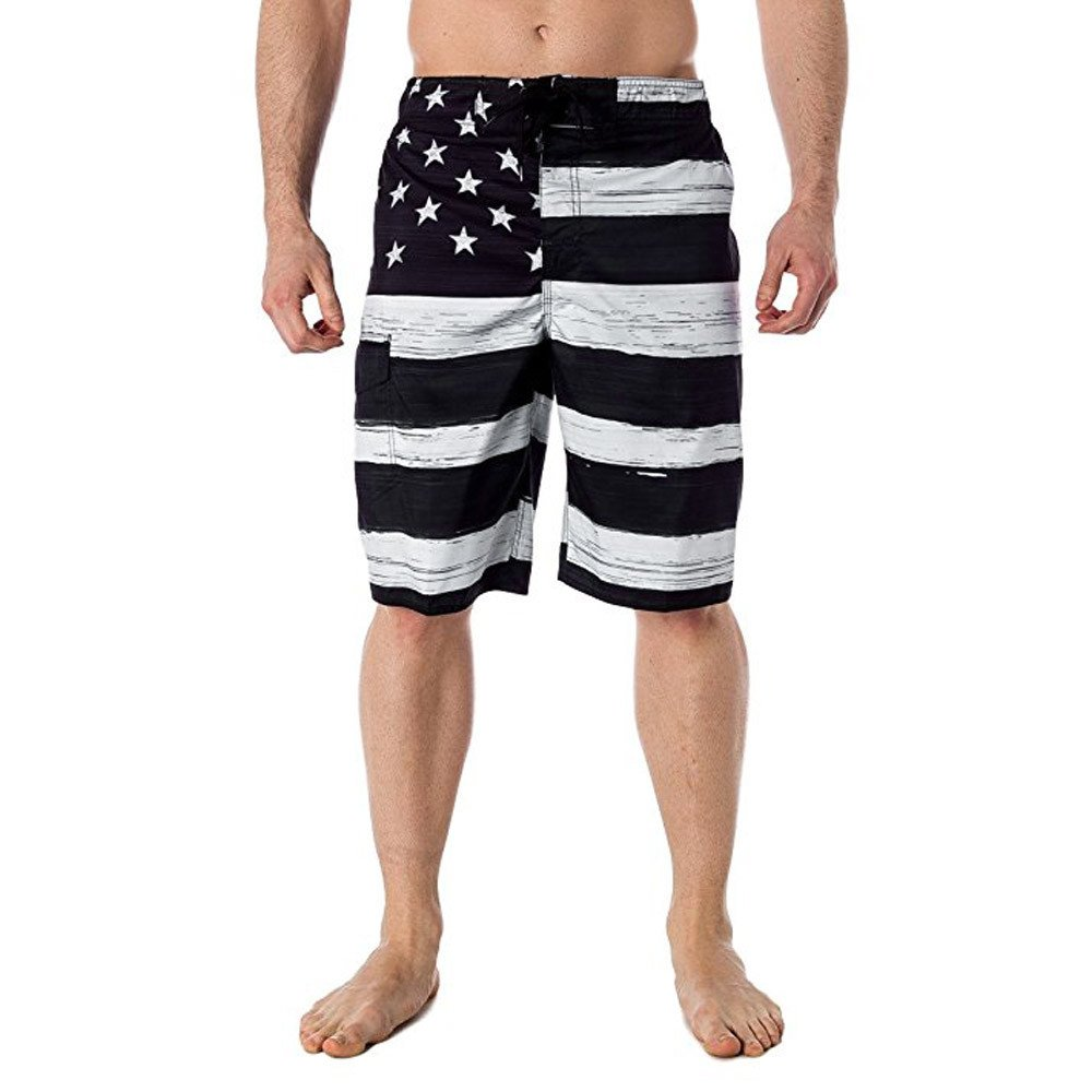 WUAI Mens Swim Trunks Independance Day American Flag Printed Beach Athletic Outdoor Shorts (Black,US Size M = Tag L)