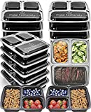 Prep Naturals Meal Prep Containers 3 Compartment [15 pack, 32oz] - Bento Box Food Containers BPA Free Bento Boxes For Adults Lunch Containers - Plastic Containers with Lids Food Storage Containers