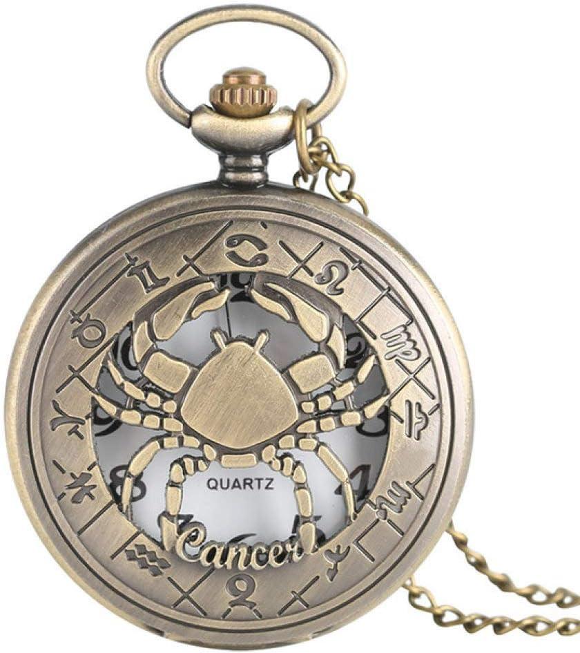 HBDML Reloj de Bolsillo 12 Constelaciones Serie temática Reloj de Bolsillo de Cuarzo Relojes Modernos para Hombres Zodiaco Cadena de Reloj Regalo de cumpleaños de Navidad Dropshipping