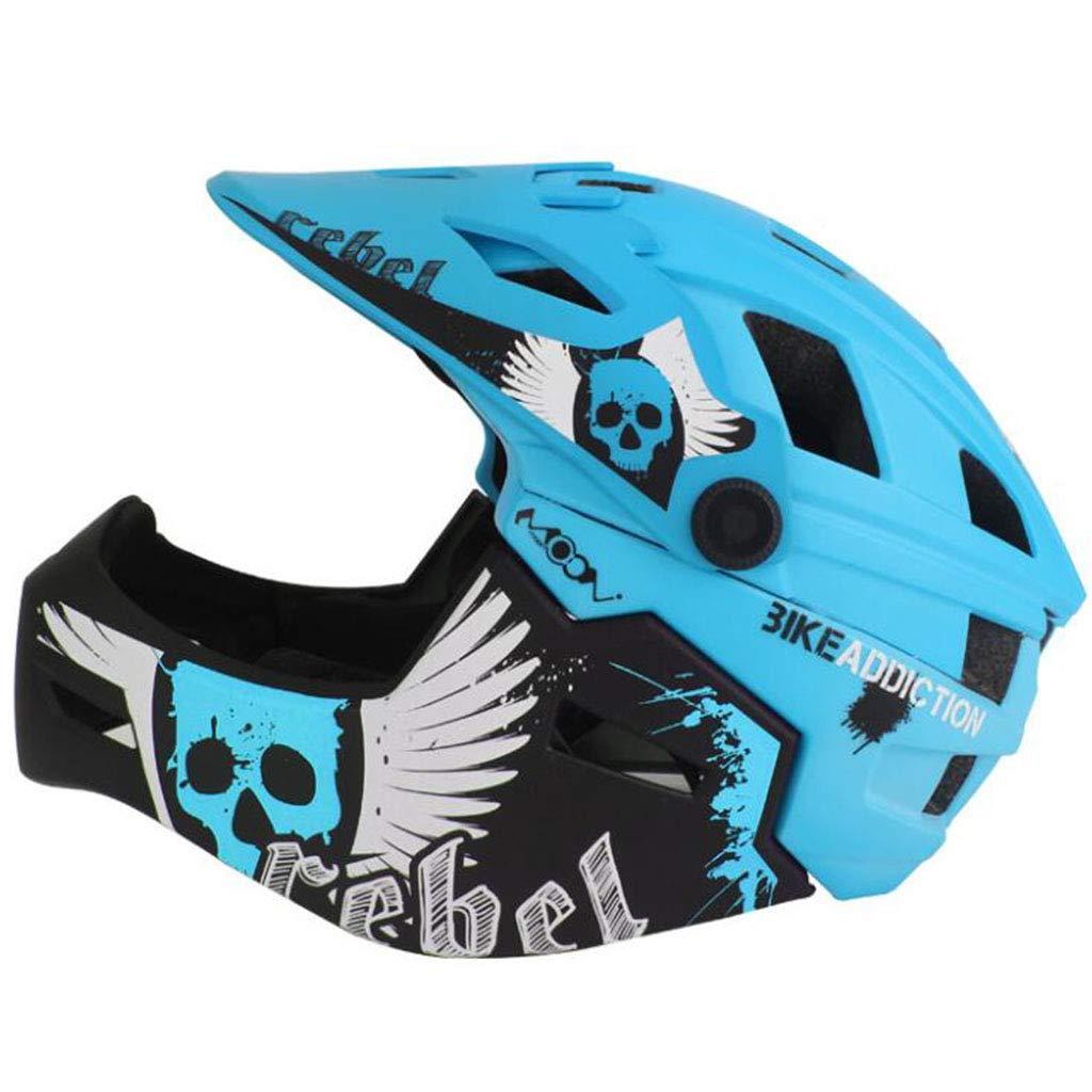 CCF Fahrradhelm Mountainbike Ausrüstung Kinder Voller Helm Skating Schutzausrüstung Fahrrad Balance Auto Sicherheit Hut CCFSF (Farbe   Blau, größe   55-58cm)