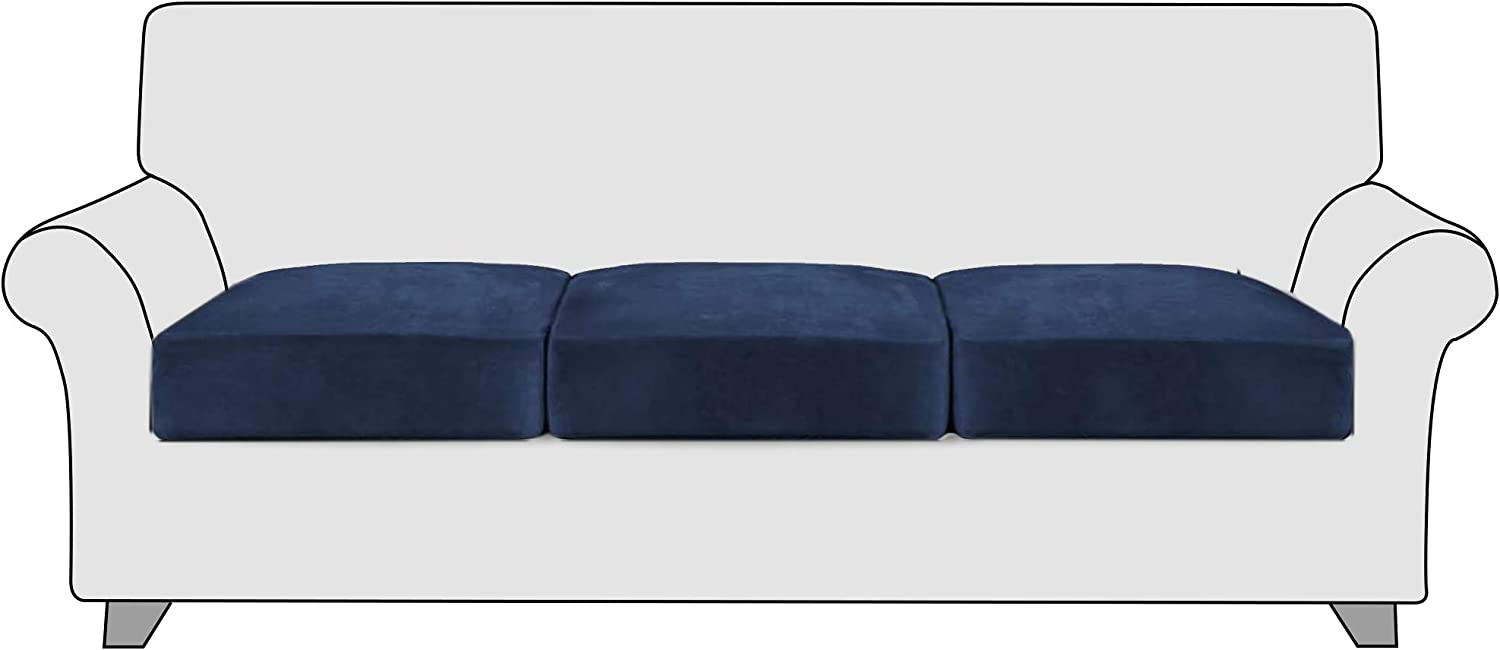 StangH 3PC Stretch Velvet Sofa Cushion Covers, Couch Cushion Replacement Cover No-Slip Seat Cushion Slipcovers Loveseat Sofa Chair Cushion Protector, Portable and Washable, (3 Packs, Navy)