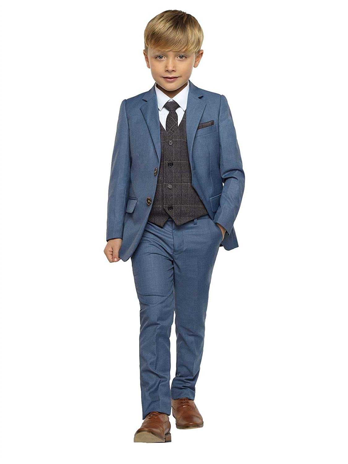 Paisley of London, Sampson Chambray, Boys Wedding Suit, Slim Fit Suit, with Benedict Gray Navy Vest, X-Large - 20