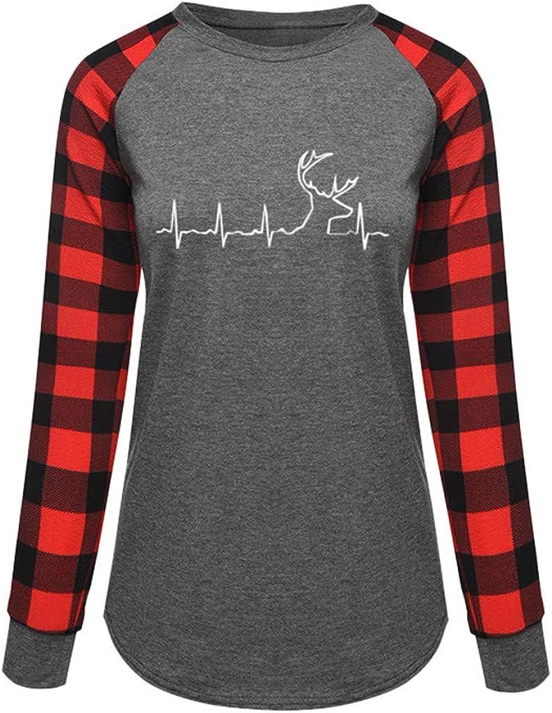 Plus Size Plaid Printed Tunic Tops for Leggings Women NRUTUP Long Sleeved T Shirt Moose Reindeer Patchwork Sweatshirt