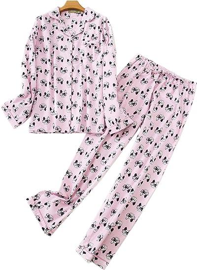 Pattern Cotton Mens Pajama Set,Loose Bathrobe Long Sleeve Sleepwear Pajama Long Button Down Loungewear with Pants