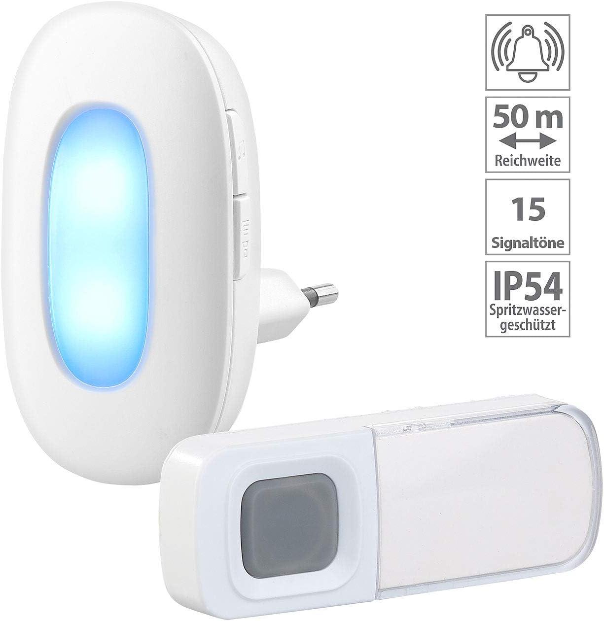 15 m/élodies et port/ée jusqu/à 50m FTK-110 Casa Control Sonnette sans fil avec signal optique