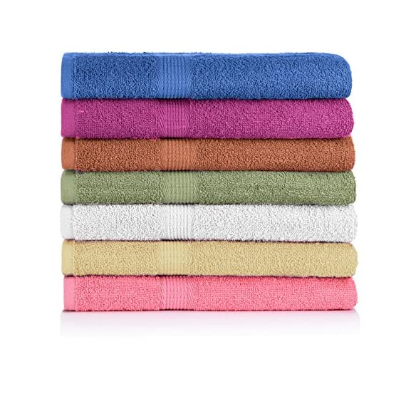 """CrystalTowels 7-Pack Bath Towels - Extra-Absorbent - 100% Cotton - 27"""" x 52"""" - OPTIMAL COMFORT. To provide long-lasting strength and use throughout the years, these Crystal Towels are made using 100% cotton fabric. The material is breathable and naturally soft to the touch, extremely pleasing against your skin so you can wrap yourself in soft comfort after bathing. GENEROUSLY SIZED. Practical for quick drying, ample coverage and comfortable lounging, each towel measures 27"""" x 52"""" in size. In addition to fulfilling your bath needs, this sufficient size makes them ideal for use on the beach or at a poolside. SUFFICIENT SUPPLY. Suitable for individuals, couples and families, these towels come in a convenient, 7-pack set to provide you with an ample supply. Everyone can enjoy the soft, plush comfort after bathing - with fewer washings in between. - bathroom-linens, bathroom, bath-towels - 61HeSd1P0 L. SS570  -"""