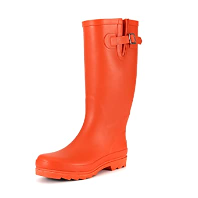 garden boots. Women Rain Boots Red Mid-Calf Rubber Waterproof Garden Matte Solid With Adjustable Buckle