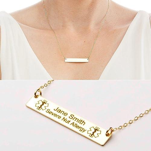 Amazon com: Medical Alert Necklace - Custom Medical ID