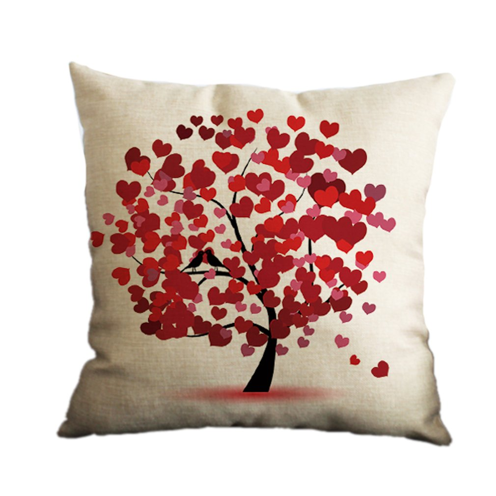 Nunubee Cotton Linen Home Decor Throw Sofa Car Cushion Cover Pillow Case Tree 6 7005P0830