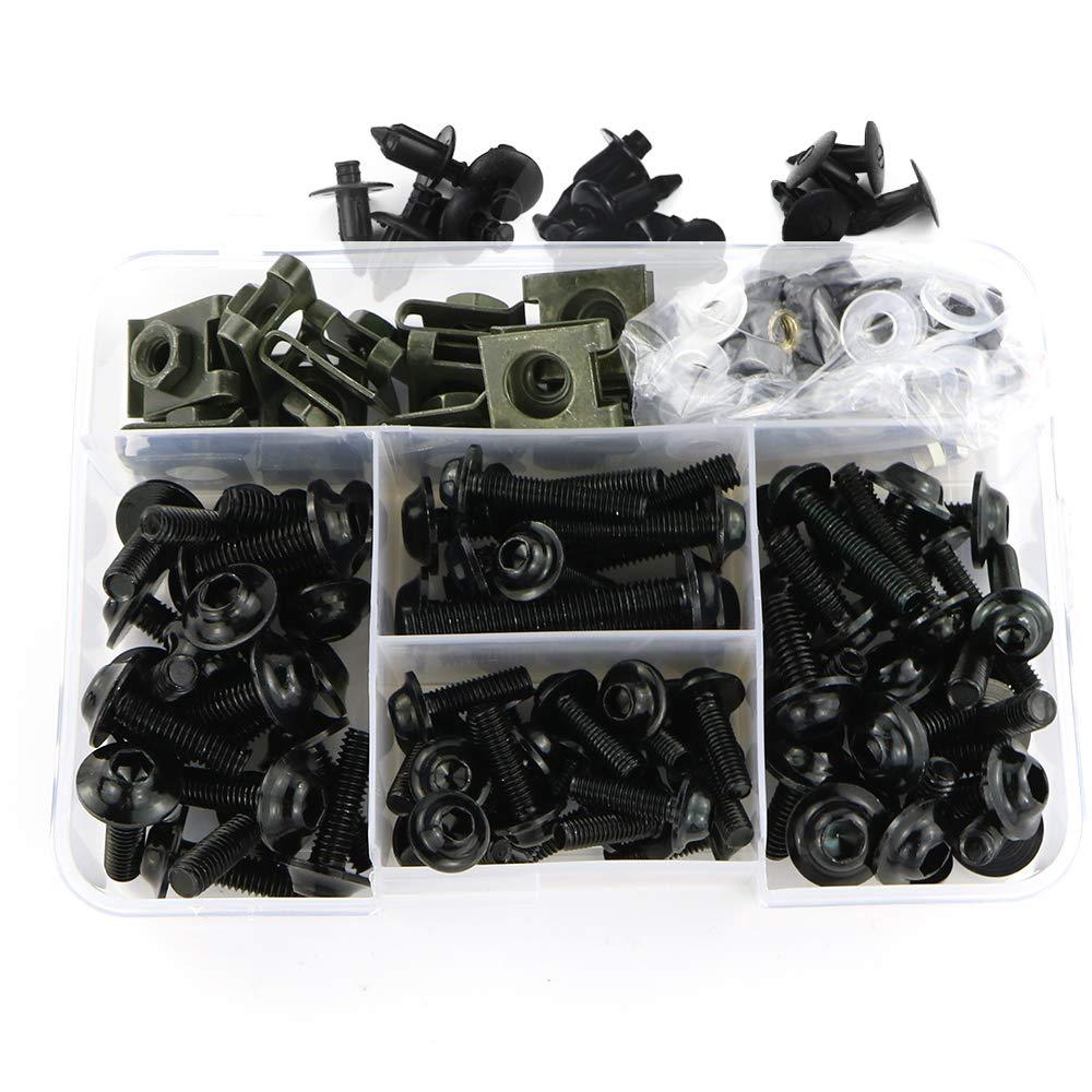Universal Fairing Bolt Kits Fasteners for Suzuki GSXR600 GSXR750 GSXR1000 GSX1300R, HONDA CBR600RR / 1000RR / CBR1100XX, YAMAHA YZF R3 / R6 / R1, KAWASAKI NINJA 300/ 650R, ZX-6R/ ZX-10R/ ZX-14 (Black)