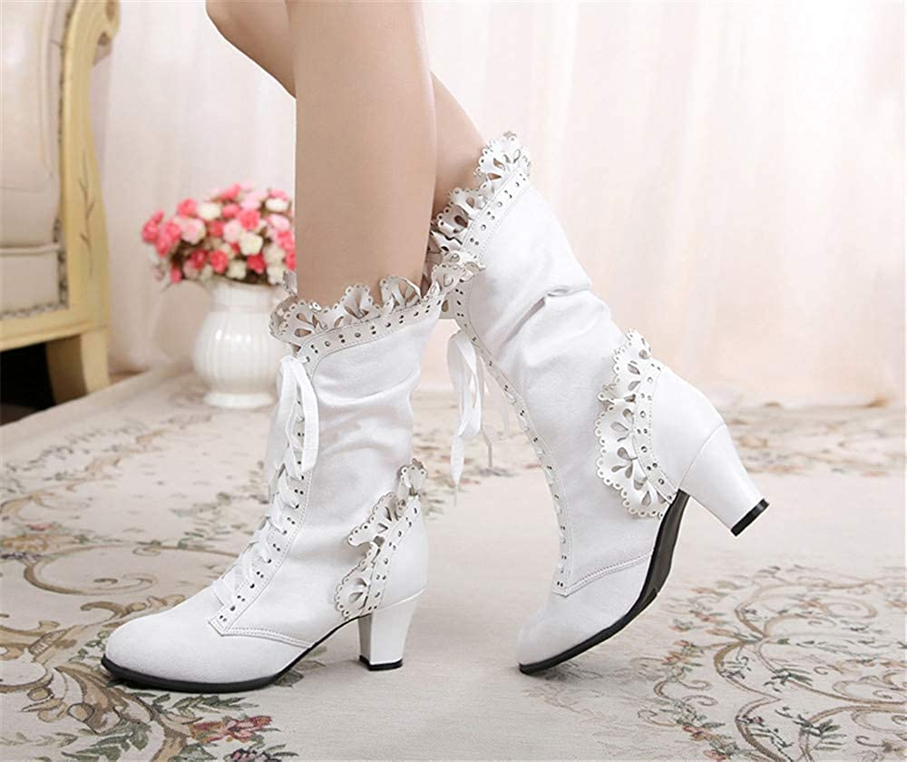 Vintage Boots, Retro Boots Lorie & Knight Womens Faux Suede Lace Up Wedding Victorian Inspired Mid-Calf Boots $68.00 AT vintagedancer.com