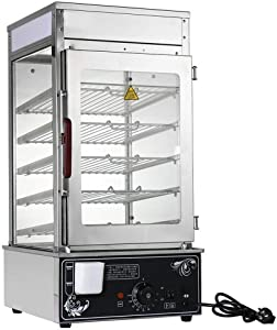 Electric Bun Steamer, 110V 1200W 5 Layer Stainless Steel Commercial Bun Warmer Cooker Machine Food Display Case for Buffet Restaurants - 30 ℃ -110 ℃ Adjustable Temperature Control