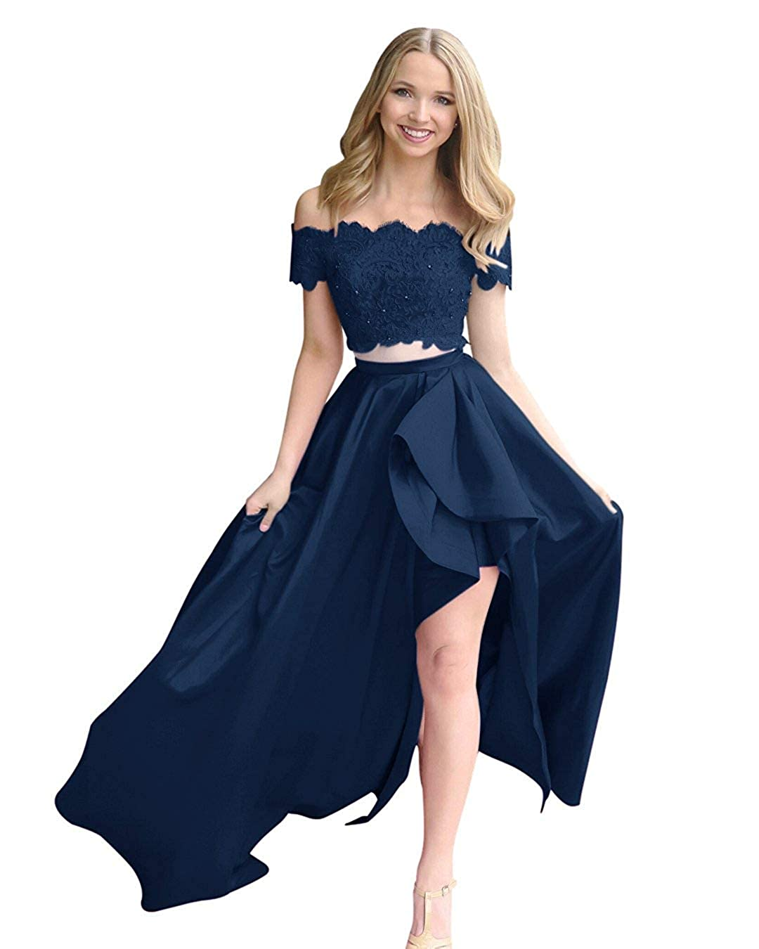 Navy bluee Fanciest Women's Two Pieces Lace Prom Dresses Long Formal Evening Party Dress