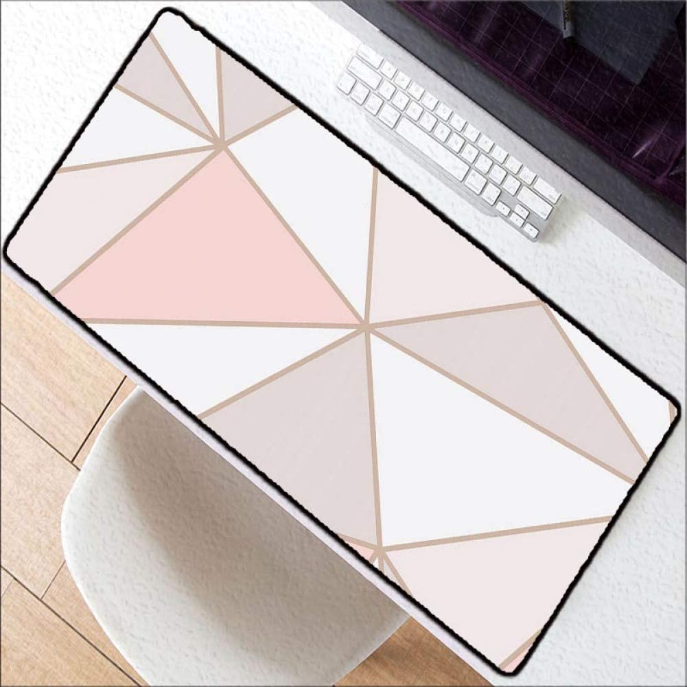 WHFDSBDWhite Pink Marble Design Office Mice Gamer Soft Large Lock Edge Mouse Pad Size for 30 X 80 cm and 40 X 90 cm Gaming Mouse Pads