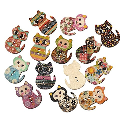 Souarts Mixed Random 2 Holes Cat Shape Wood Wooden Buttons for Sewing Crafting Pack of 100