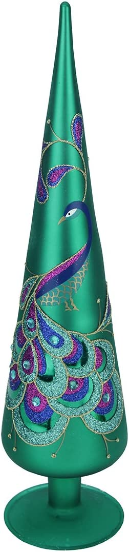 Northlight 21289758 15 Regal Peacock Green with Teal Purple and Blue Glitter Gem Glass Finial Christmas Tree Topper