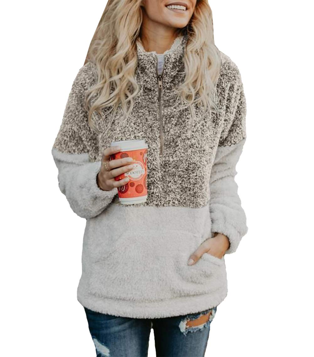 BTFBM Women Long Sleeve Zipper Sherpa Sweatshirt Soft Fleece Pullover Outwear Coat with Pockets (Khaki, Medium)