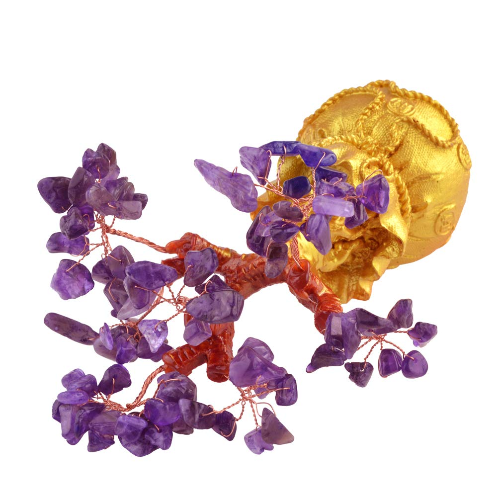 Yolyoo Pale Gold Money Bag Crystal Purple Gem Stone Money Tree Office&Home Decoration for Wealth and Luck,Gifts