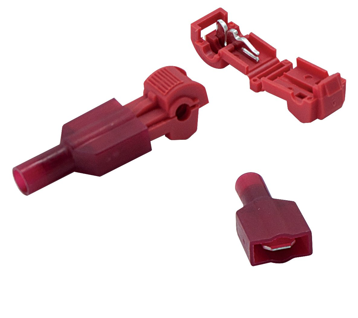 100 PCS Red Nylon Electrical Insulated Quick Splice Spade and T-Tap Crimp Terminal Connectors Assortment MaxBrite Components
