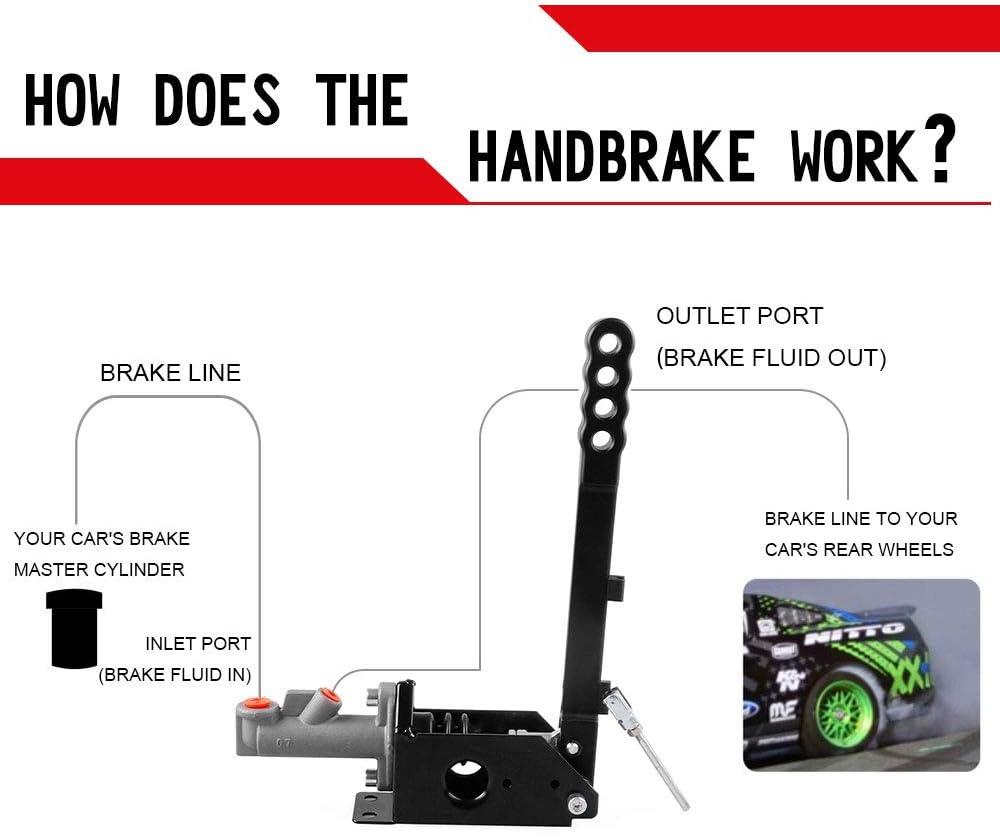 RYANSTAR Universal Hydraulic Drift Handbrake Oil Tank for Hand Brake Fluid Reservoir E-Brake Racing Black Color