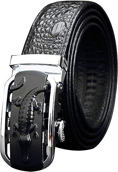 Cinturones Hombres Cuero Real, Hebilla Plateada Automática Crocodile Patrón Negro Chico Cinturón Cuero Vaca (Caja Regalo) Pantalones Casuales Traje Trabajo Negocios, Longitud 110-125 Cm 34 Cintura: Amazon.es: Ropa y accesorios