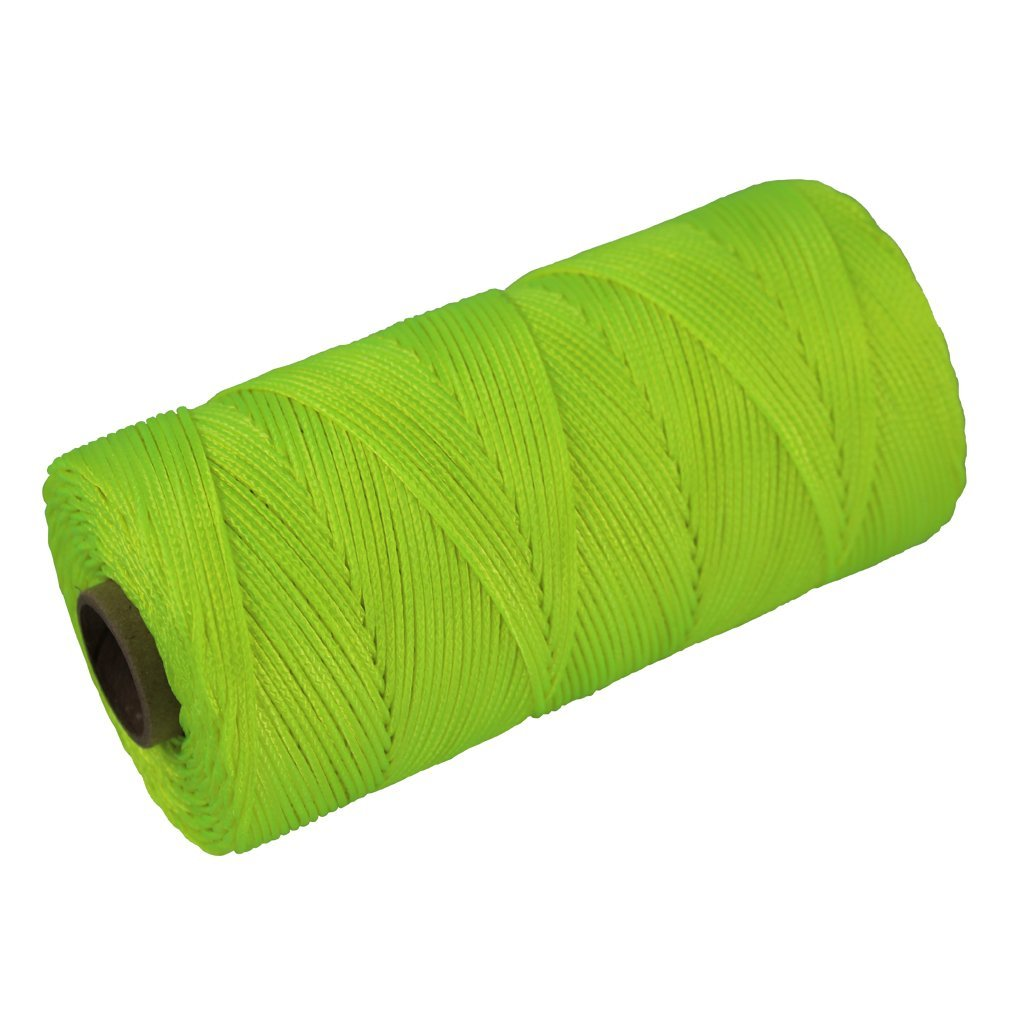 Braided Nylon Mason Line #18 - SGT KNOTS - Moisture, Oil, Acid, Rot Resistant - Twine String Masonry, Marine, DIY Projects, Crafting, Commercial, Gardening use (500 feet - Florensent Yellow) by SGT KNOTS