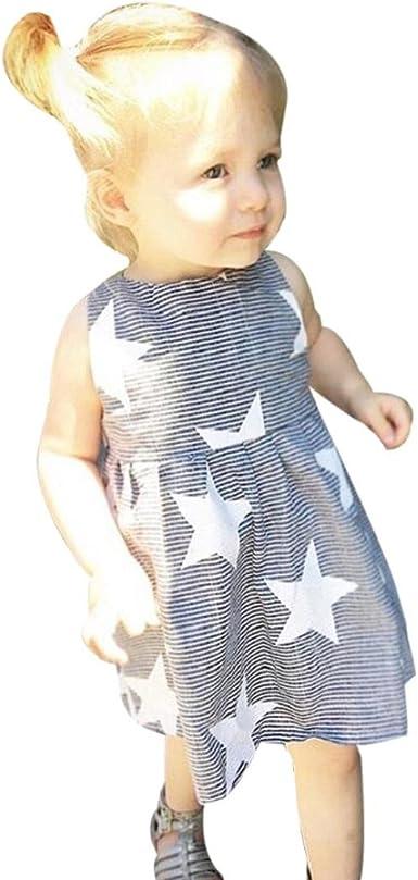 Toraway Toddler Baby Kids Girls Summer Sleeveless Beach Sundress Stripe Star Party Dress