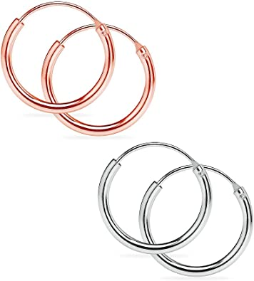 Rose Gold /& Black Rhodium Plated 3 Pairs Sterling Silver Small Endless 10mm Round Unisex Infinity Hoop Sleeper Earrings Yellow