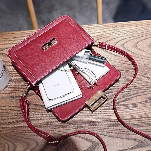 manico a quadrata tracolla cerniera lucchetto tasca piccola mano a ciotola tendenza moda morbida cucito Borsa con quadrata semplice rosso qwZX1xt55F