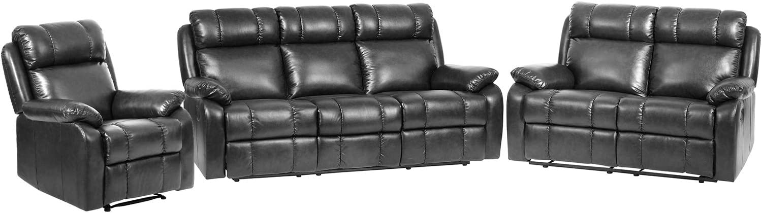 3-Pieces Recliner Sofa Set Sectional Sofa Reclining Living Room Sofa Set for Living Room Furniture PU Leather Sofa and Couch Manual Reclining Sofa Recliner Chair