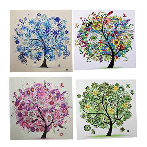 Prettyia 4pcs DIY Diamond Painting Four Seasons Tree Special Shaped Diamond Cross Stitch Kits Crystal Rhinestone Picture ()